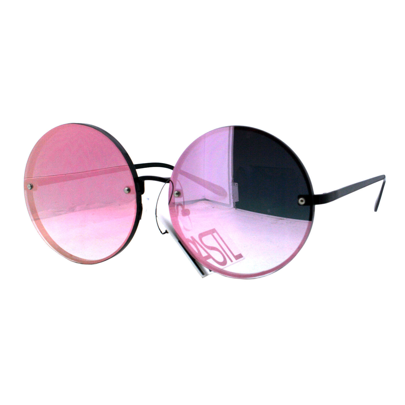 PASTL Super Oversized Round Sunglasses Womens Pink Mirror Lens UV 400 image 2