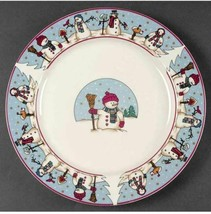 SNOWMEN Holiday Rim Dinner Plate(s) Blue Rim Cambridge Potteries - $14.99