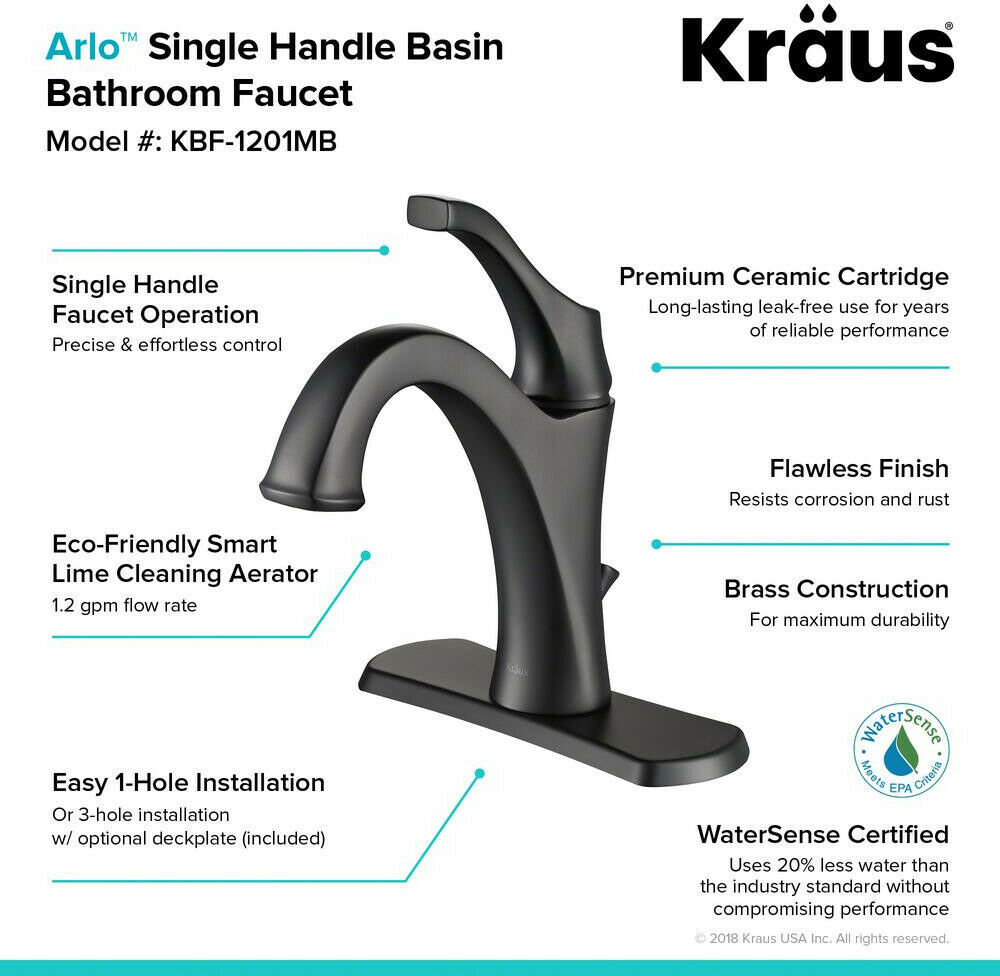 KRAUS Bathroom Sink Faucet 1.2 GPM Single-Handle Hot/Cold