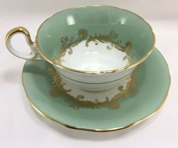 Aynsley England Bone China Teacup & Saucer Sherwood 8163 NG Mint Green Gold - $39.55