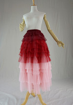 Women Tiered Long Tulle Skirt Red Pink High Waist Tier Tulle Skirt Party Skirts