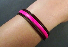 Leather Bracelet-Womens Leather Bracelet-Brown bracelet-Pink Bracelet-Le... - $30.00