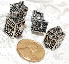 PRAYER BOX OPENS AND CLOSES FINE PEWTER PENDANT CHARM - 15mm L x 17mm W x 15mm D image 3