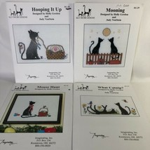 4 Silly Snobs Designs Cat Cross Stitch Patterns Hooping It Up Mooning Mo... - $24.74