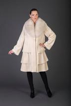 Beige Beaver Fur Coat Fur Jacket With Fox Collar - $940.50