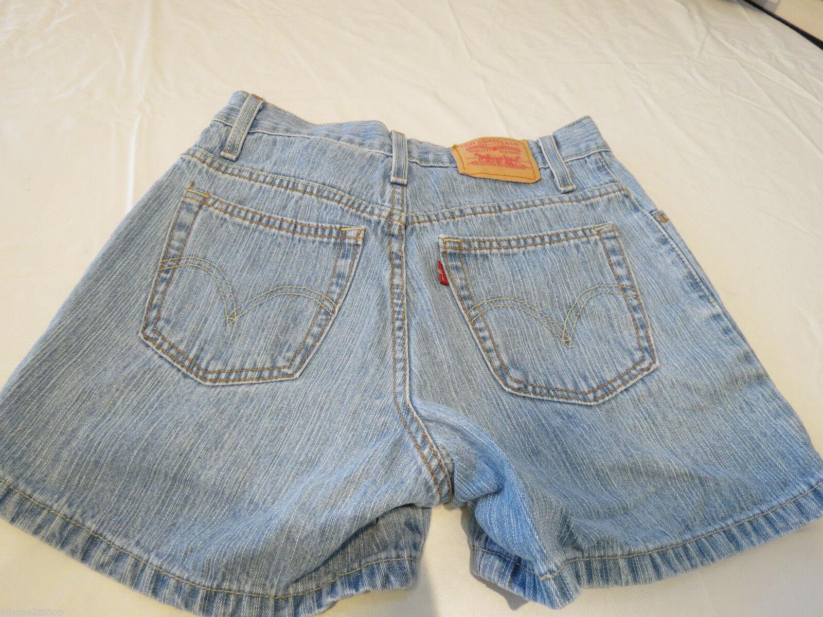 Levi's Niedrig 7 Blau Denim Shorts Junior Damen 731L 379556012 EUC #