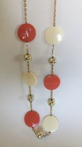 Vintage 1970s Avon Tangerine,White & Goldtone Beaded Gold Chain Necklace - $13.44