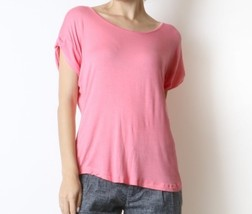 Coral Scoop Neck Blouse with Folded Sleeves, Short Sleeve, Womens Coral Top