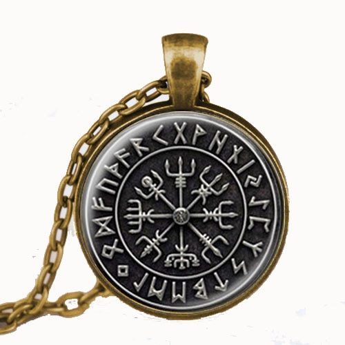 Primary image for Steampunk 1pcs/lot Norse Viking Cross in Rune Circle pendant jewelry Glass Caboc