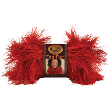 Lion Brand Fun Fur Yarn-Red - $7.62