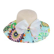 PANDA SUPERSTORE Colorful Bow Knot Flopy Straw Hat Beach Hat for Women