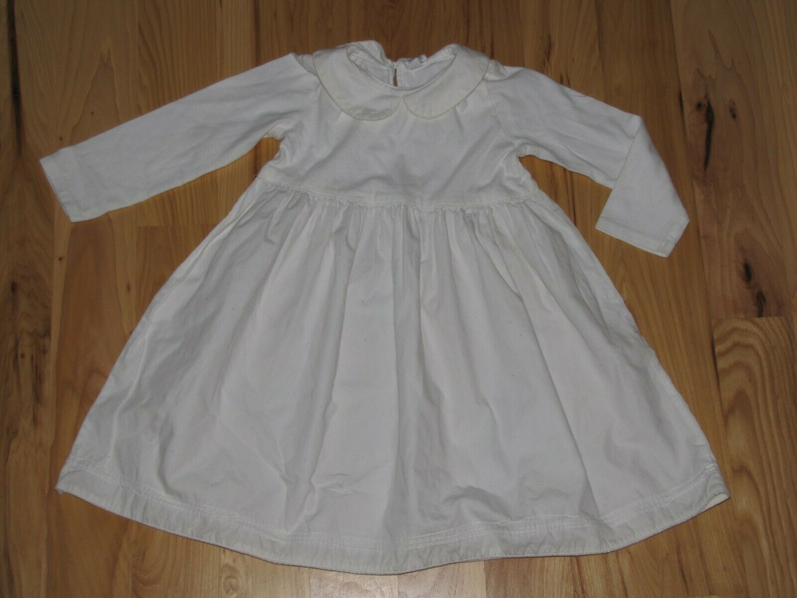 Primary image for BABY GAP SOLID PLAIN WHITE GIRL DRESS CLOTHES OUTFIT LONG SLEEVE PETER PAN 3T