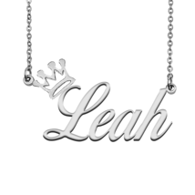 Leah Name Necklace Tag with Crown for Best Friends Birthday Party Gift - $15.99
