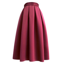 Emerald Green Midi Holiday Skirt Outfit Women Pleated Midi Skirt with Pockets image 15