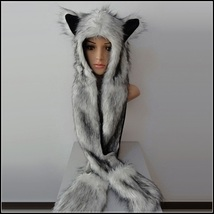 Warm Winter Faux Fur Gray Snow Wolf Earred Cap Three in One Hat Scarf Mittens image 1