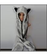 Warm Winter Faux Fur Gray Snow Wolf Earred Cap Three in One Hat Scarf Mi... - $39.95
