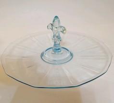 "FOSTORIA ""FAIRFAX"" BLUE DEPRESSION GLASS CENTER HANDLED SANDWICH PLATE EUC  - $32.99"