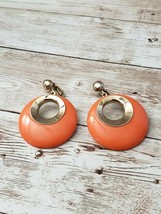 Vintage Clip On Earrings Sarah Coventry Retro Orange & Gold Tone Statement - $14.99