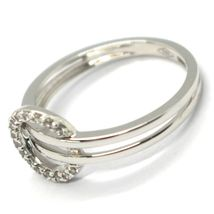SOLID 18K WHITE GOLD DOUBLE TUBE BAND RING WITH CENTRAL CUBIC ZIRCONIA CIRCLE image 3