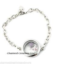 5pc Lot 25mm Mini Plain Round Floating Charm Locket Chain Link Bracelet - $34.60