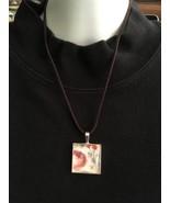 Pink & Orange Flower Pendant Necklace, Silver P... - $12.50
