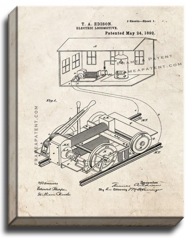 Primary image for Thomas Edison Electric Locomotive Patent Print Old Look on Canvas