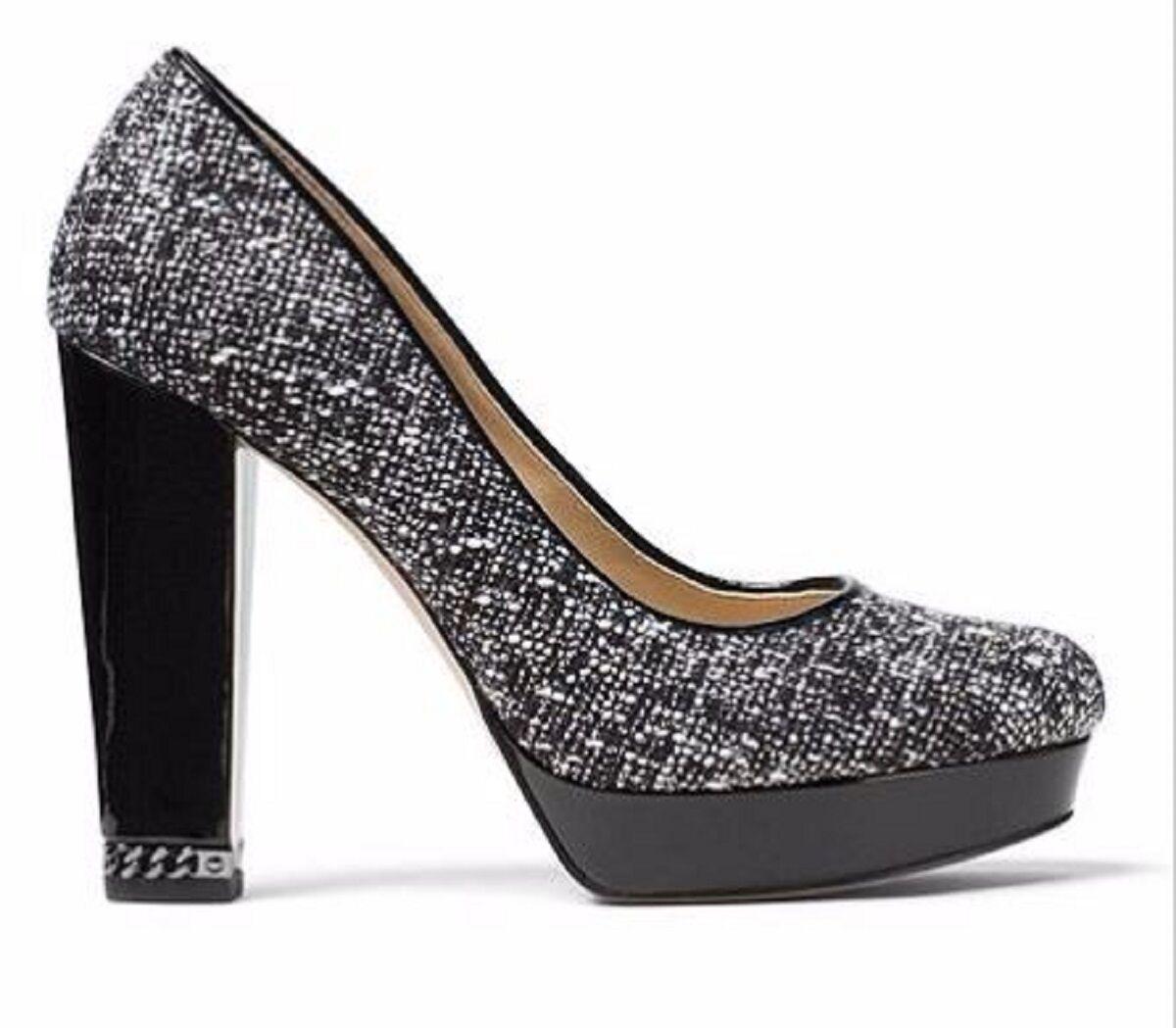 Women's Shoes Michael Kors SABRINA PUMP TWEED Platform Heels Black White