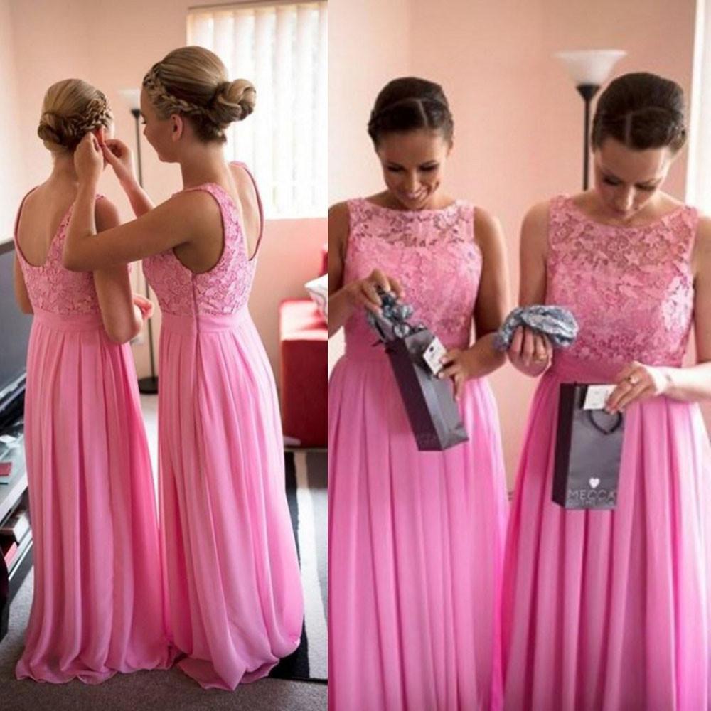 Coton rosado largo de dama de honor vestidos de gasa de encaje festoneado piso longitud vestidos