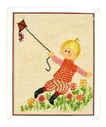 Vtg Needle Point Embroidered Kid Flying Kite Textile Wall Art Framed Hom... - $29.69