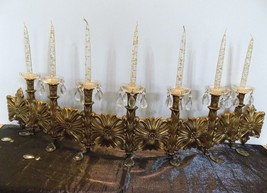 Syroco Burwood 1963 Wall Decor Bronze with Candles, Prisms & Crystal Bea... - $41.58