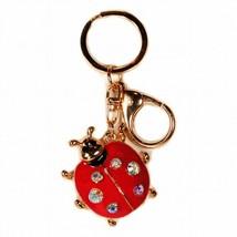LADYBUG KEYCHAIN Red Enamel Rhinestone Key Chain Ring Charm Metal Luggag... - $6.95