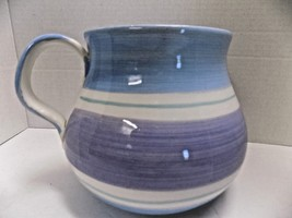 Large Pitcher Handpainted Italy Art Pottery By Furio Blue Lavender White - $11.40