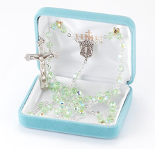 All Sterling Silver Rosary made with Round Chrysolite Swarovski Crystals - $199.12