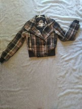 Charlotte Russe Plaid Pink Brown Cropped Jacket Women's Size Small - $32.71