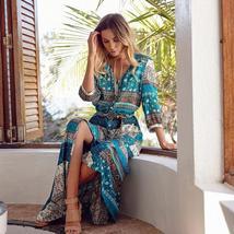 Women's New Boho Floral Print Long Maxi Beach Sundress image 1