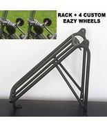 Lightweight Rear Rack for Brompton + 4 Easy Wheels Full Set Black Edition - $190.94
