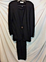 St John Collection Marie Gray Santana 2pc Black Jacket and Pants Suit Size 6 - $148.50