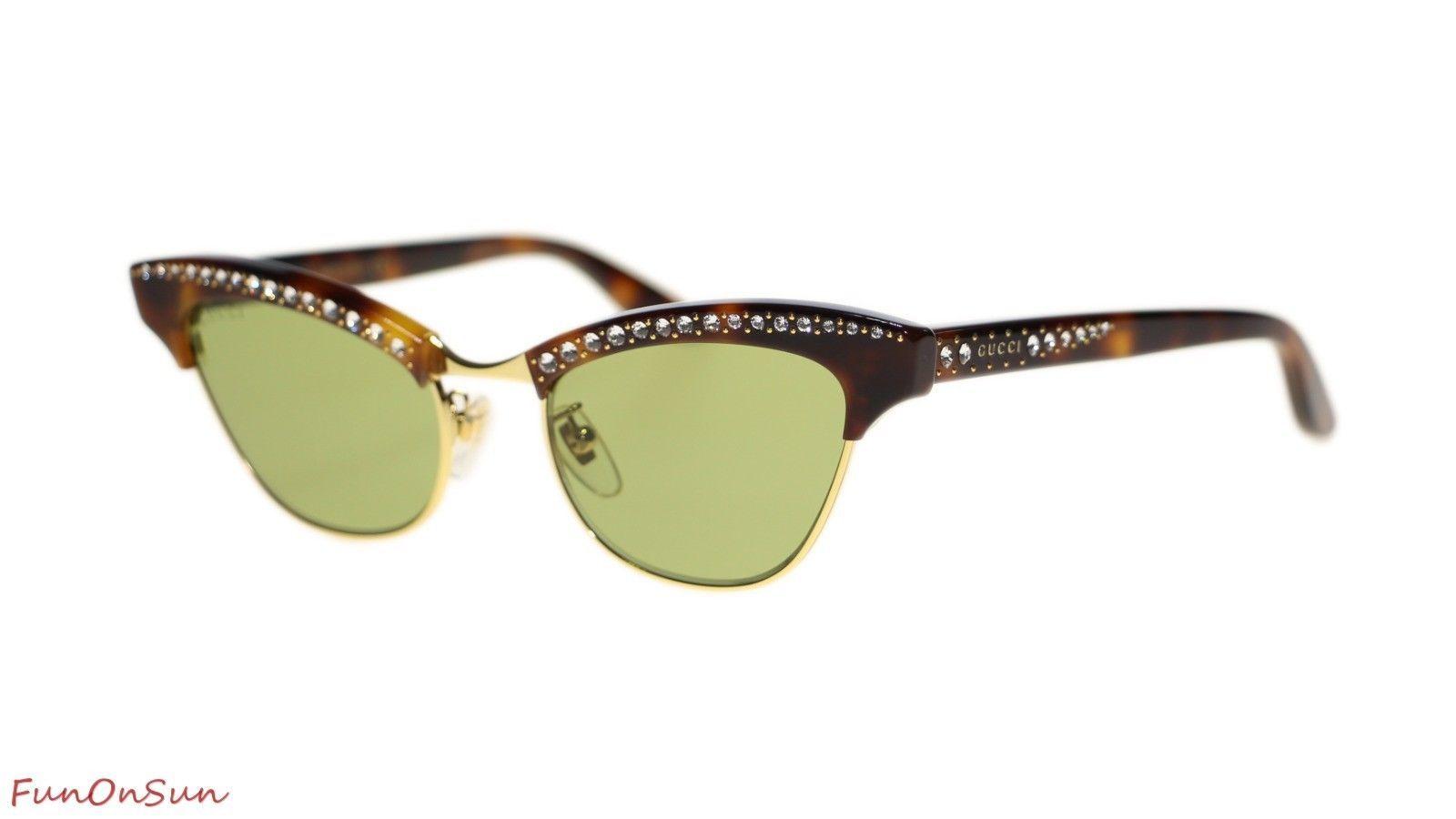 302ce407822 10. 10. Previous. New Gucci Women Sunglasses GG0153S 003 Havana Green  Polarized Lens 49mm