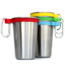 Stainless Steel 16 oz Pint Cups with Color Bands & Carabiner Hooks, Set ... - £14.00 GBP
