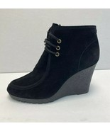 Michael Kors Wedge Lace-Up Bootie Ankle Black Suede Leather Women Shoe S... - $69.29