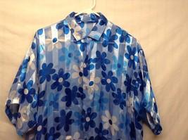 Very LG Dark/Light Blue w White Floral Design Short Sleeve Summer Shirt image 2