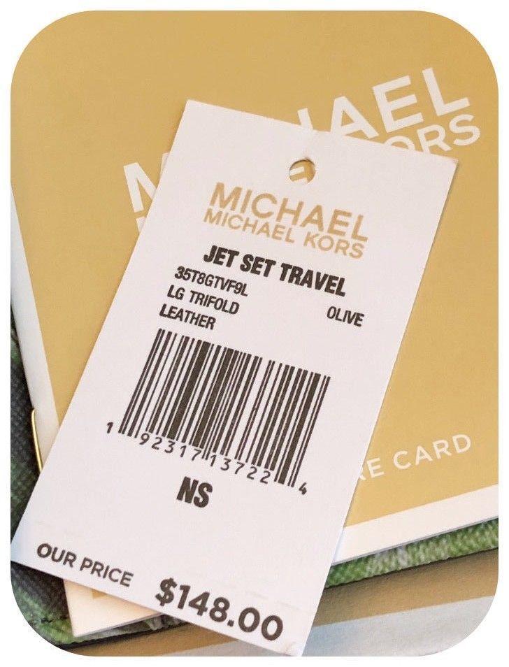 95498f1dc942 NWT MICHAEL KORS JET SET TRAVEL PALM LEAF PRINT LARGE TRIFOLD WALLET IN  OLIVE