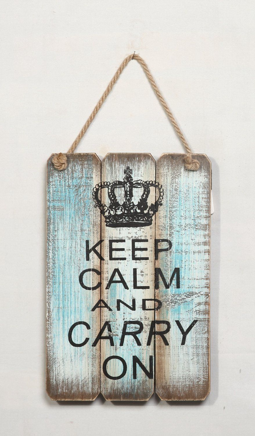 """Rustic Wood Crown Wall Plaque """"Keep Calm And Carry On"""" Wisdom Folk Sign 12""""H"""