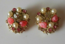 Vintage Gold-tone Faux Pearl Rhinestone Pink Leaf Clip-on Earrings - $24.74