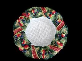 Fitz & Floyd Essentials Berries Fruit Ribbon Basketweave Christmas Bowl - $18.80