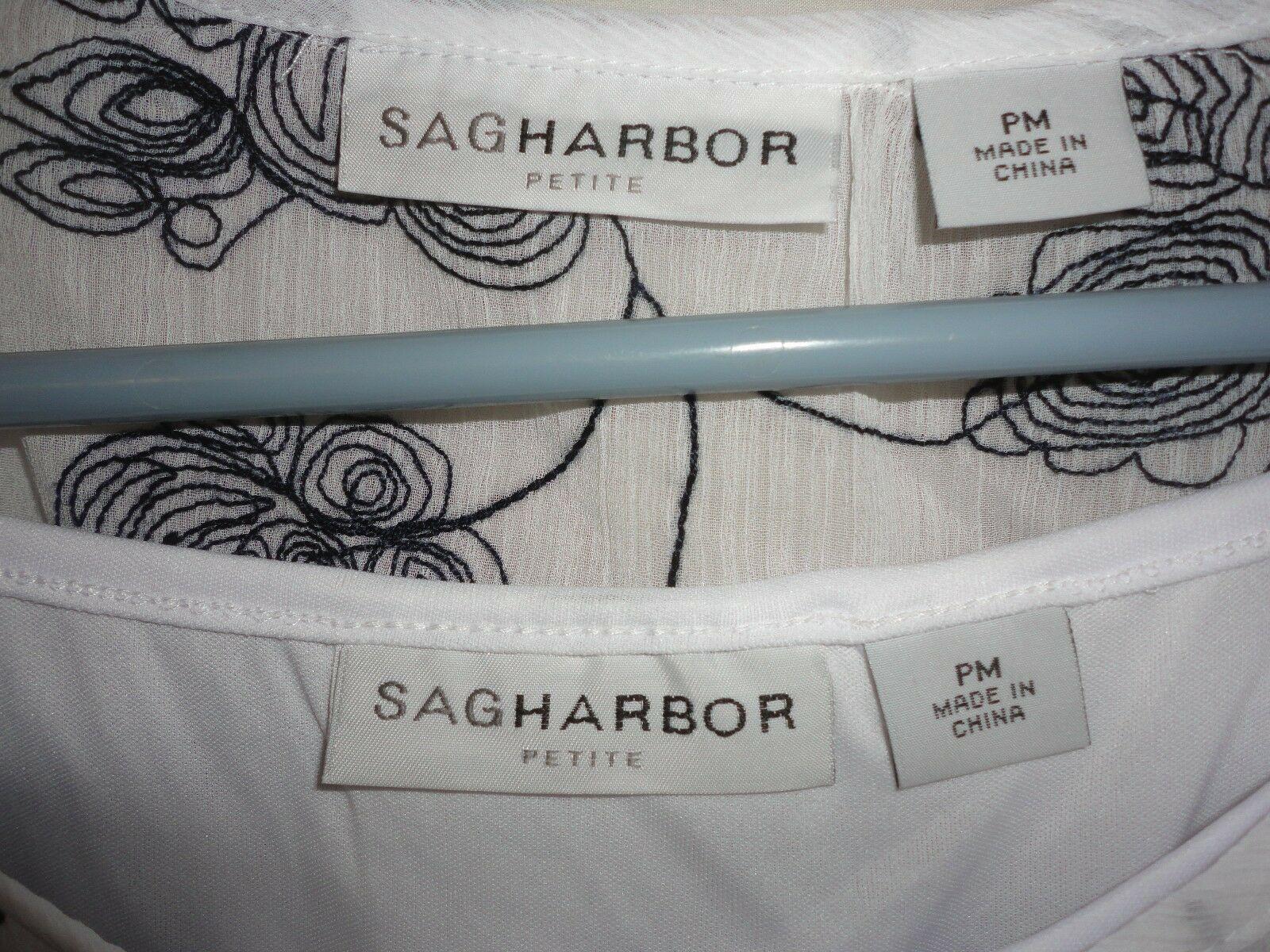 Sag Harbor Petite Women's 2 piece Sheer top w/ cami Size PM black / white floral