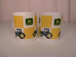 Pair Similar John Deere Coffee Mugs Green, Yellow, White - Logo & Green ... - $24.95