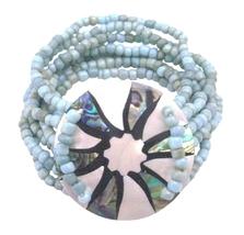 Multi Stranded Fashion Bracelet Turquiose Beads & Round Shell Bracelet - $13.38