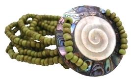 Shiva Eye Round Shell w/ 7 Stranded Olivine Beads Stretchable Bracelet - $13.38