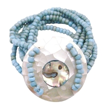 Classy Turquiose Beads Stretchable Bracelet Round Shell On the Wrist - $13.38
